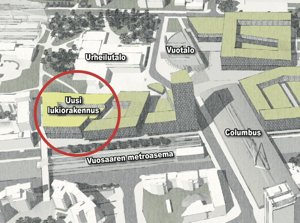 Vuosaaren lukion uusi rakennus.
