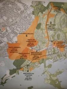 Luonnoskartassa näkyy Vuosaaren tulevaisuuden rakentamissuunnitelmia.