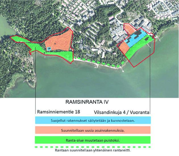 Helsingin kaupungin karttakuvasta näkee Ramsinranta 4:ään rakennettavat alueet.