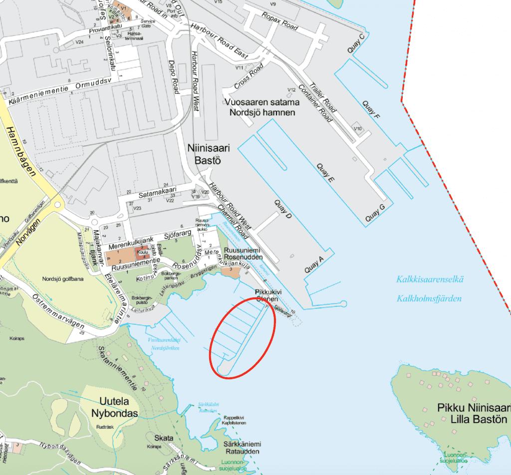 Merenkulkijanlaituri sijaintikartta.