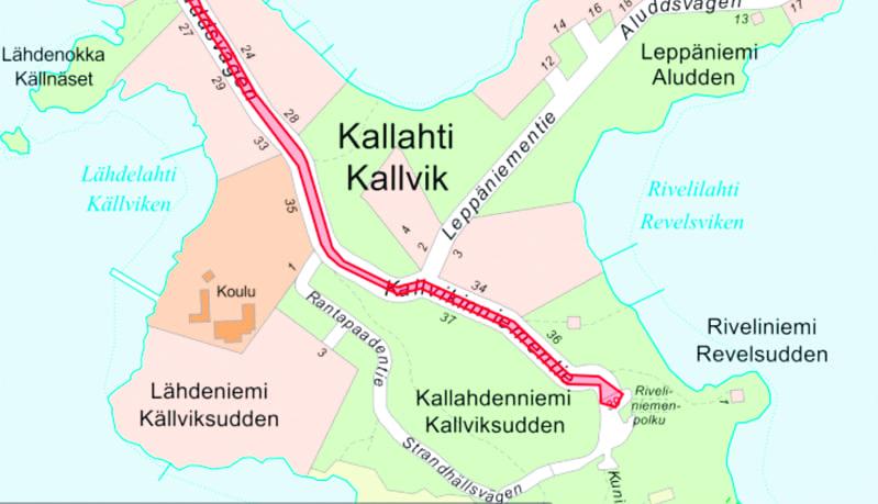 Karttakuva Kallvikinniemestä.