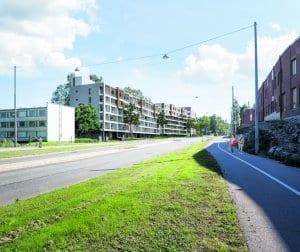 Havainnekuvassa uusia kerrostaloja Kallvikintien varressa.