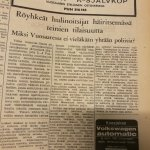 Vuosaari-lehti 8.2.1968: Röyhkeät hulinoitsijat häiritsemässä teinien tilaisuutta – Miksi Vuosaaressa ei ole vieläkään yhtään poliisia?