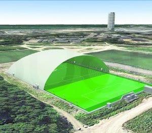 Kartanon liikuntapuistoon rakennettavan jalkapallohallin vanha havainnekuva golfkentältä Vuosaaren keskustaan päin.