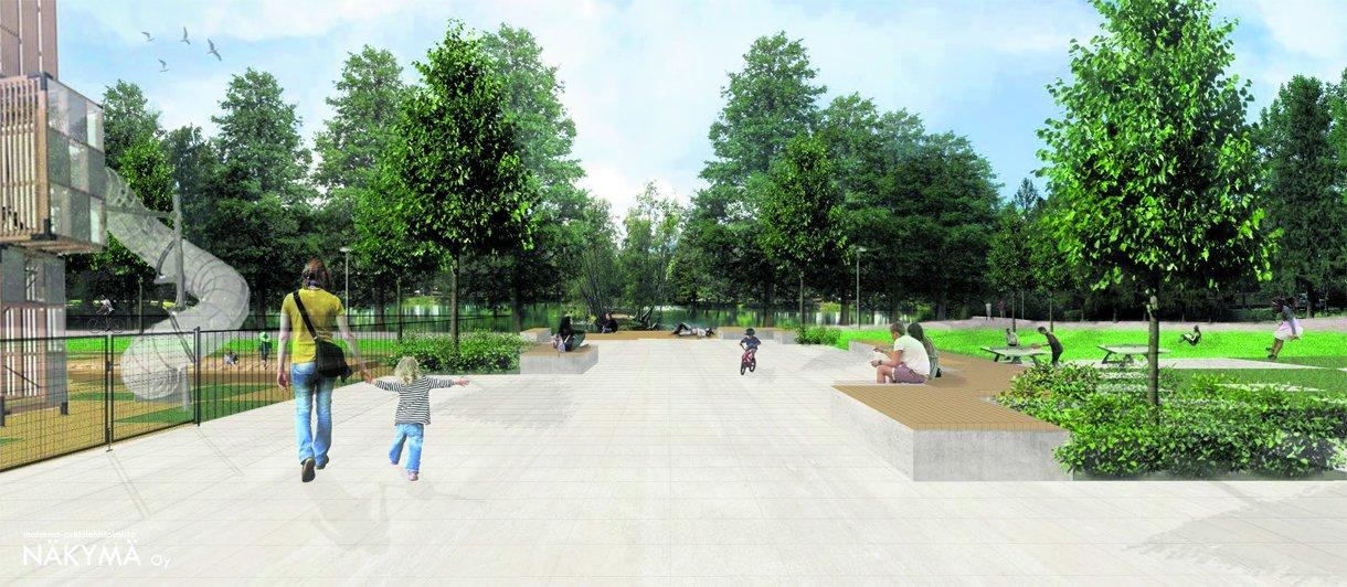 Haivainnekuva Ilveskorvenpuistosta uudistuksen jälkeen.
