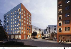 Pohjoisen ostoskeskuksen uusia taloja. Luonnos: L Arkkitehdit Oy