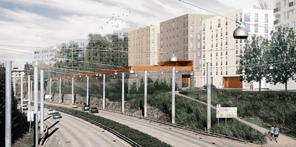 Havainnekuvassa näkyy Pohjavedenpuistoon suunniteltua rakentamista.