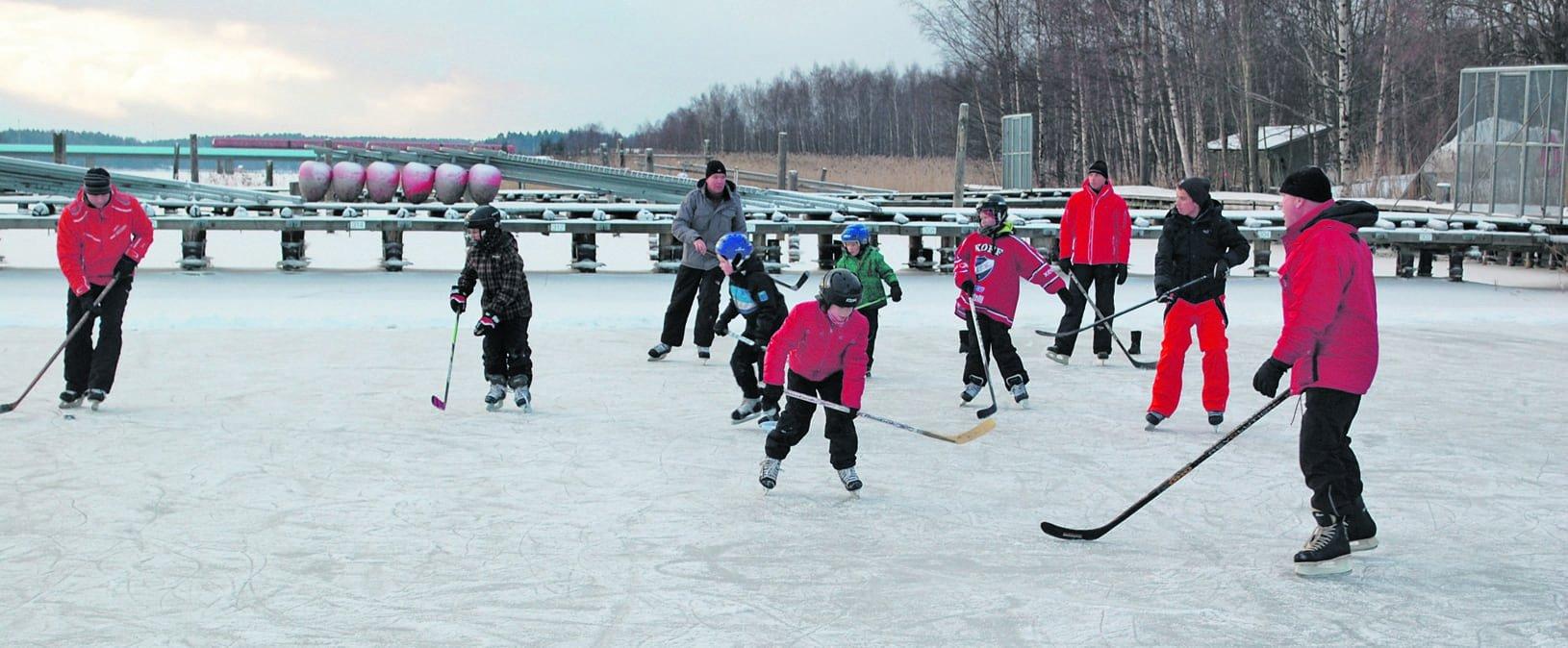 Vartiokylänlahdella voi hyvinä talvina pelata, luistella ja hiihtää.