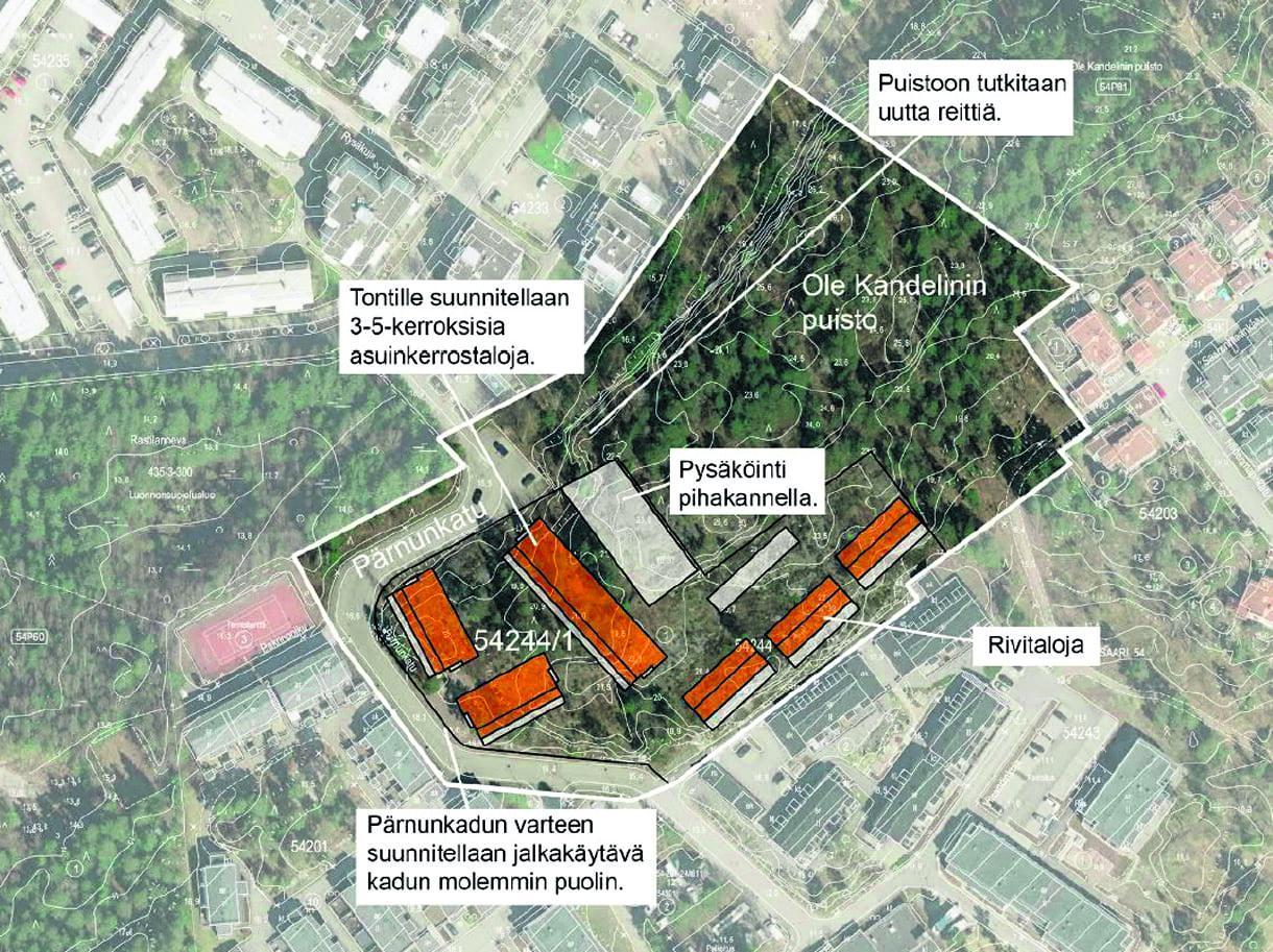 Suunnittelualue Ramsinrannassa osoitteessa Pärnunkatu 6. Kuva: Helsingin kaupunki