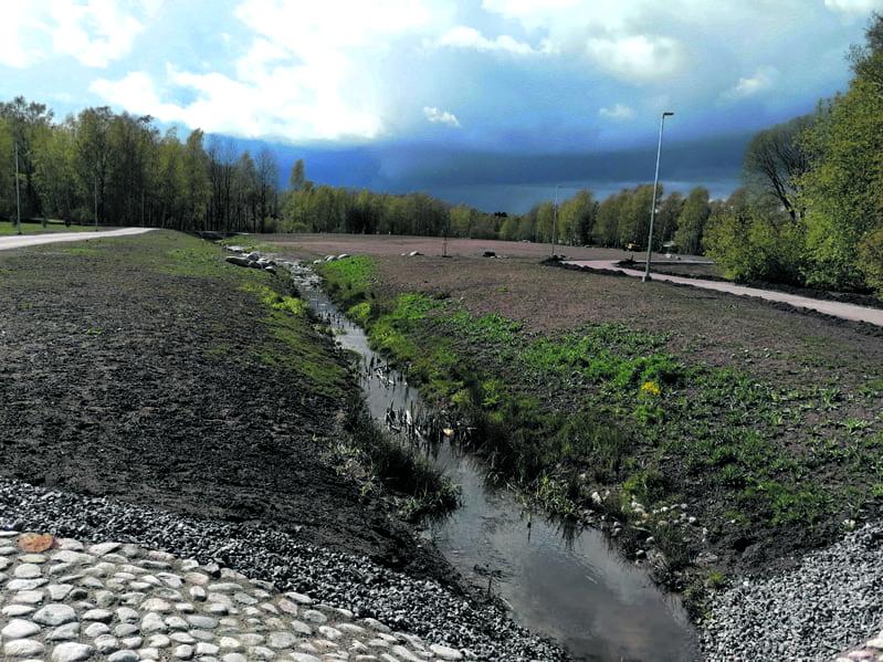 Lauantain monista sadekuuroista yksi iskee taas Kartanon liikuntapuiston harmaaseen pintaan. Se auttaa heinän kasvua ja puiston lopullista valmistumista. Paikalle tulee frisbeegolfrata.           Kuva: Matti Koivisto