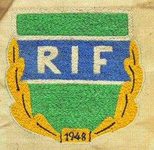 Vuonna 1948 perustetulla urheiluseura RIF:llä (Rastböle idrottsförening) oli näin komea logo.