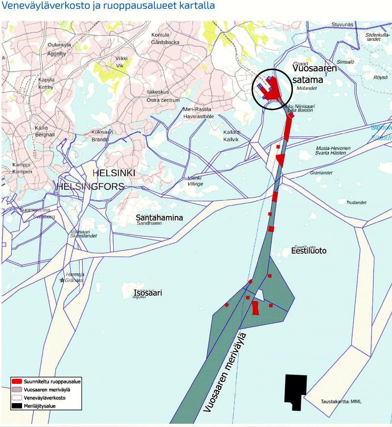 Vuosaaren sataman veneväyläverkosto ja ruoppausalueet.