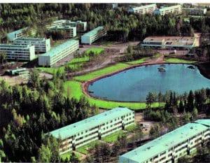 Näkymä Purjetien suunnasta Kangaslammelle 1960-luvun lopulta.