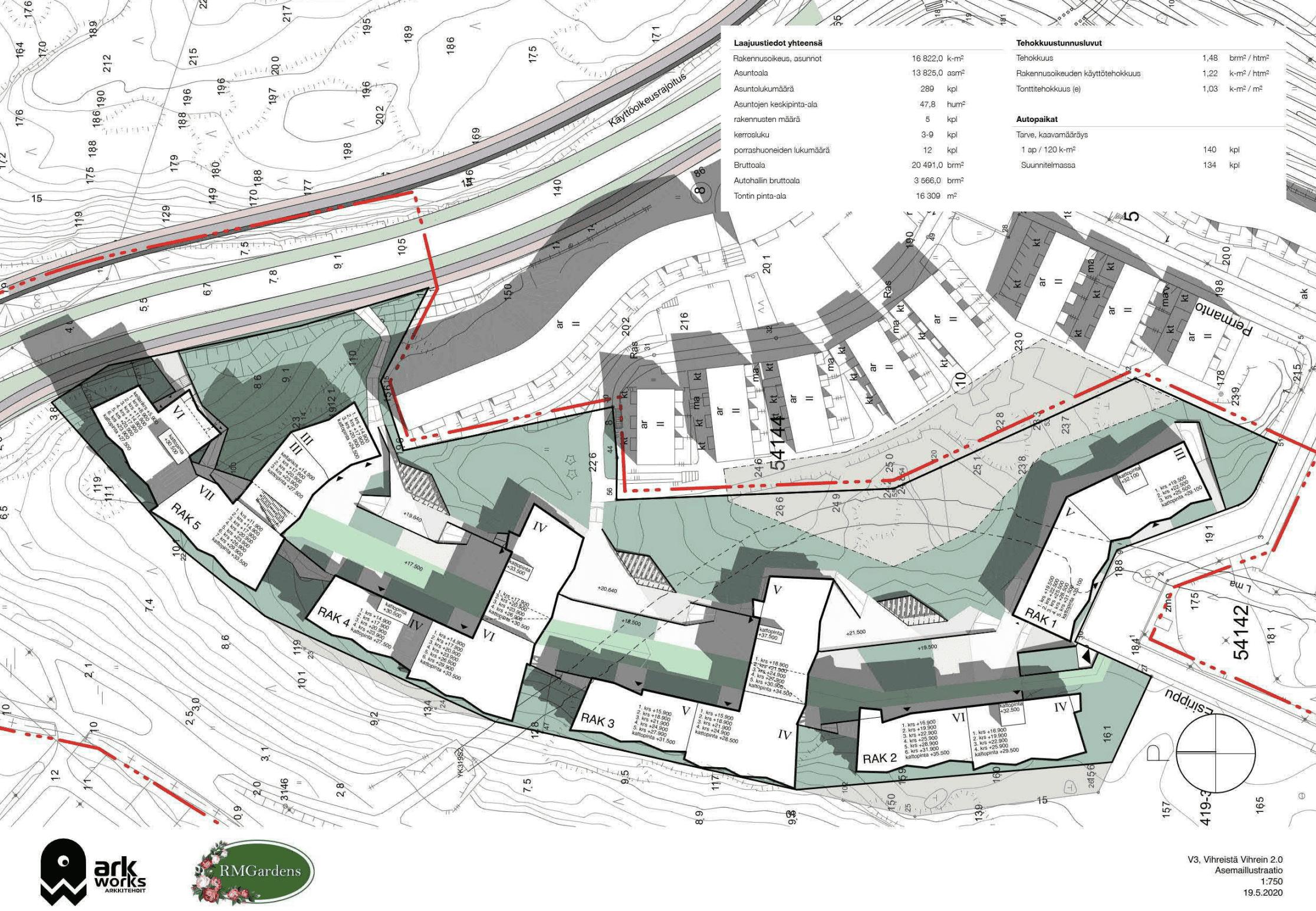 Karttakuvassa näkyy alueen rakennussuunnitelmia.