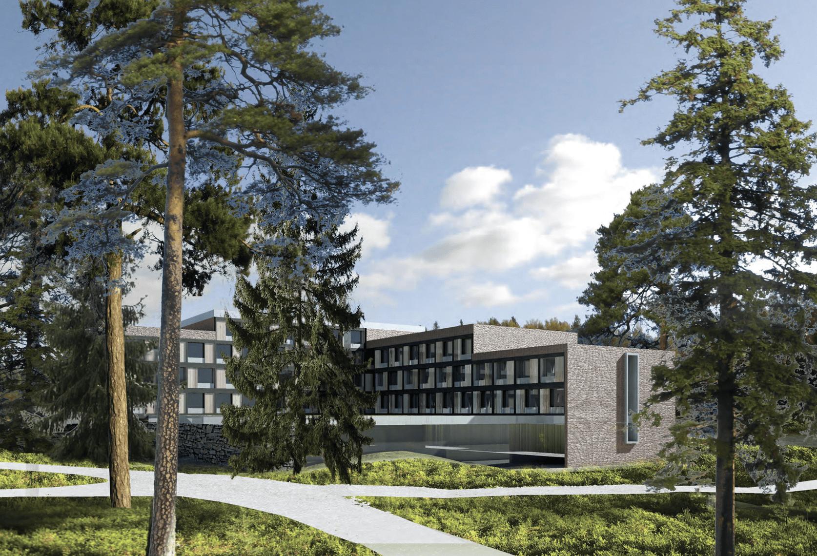 Luonnos Hotel Rantapuiston uudesta hotellirakennuksesta Furuborginkadulla. Luonnos: Arkkitehtityöhuone APRT Oy