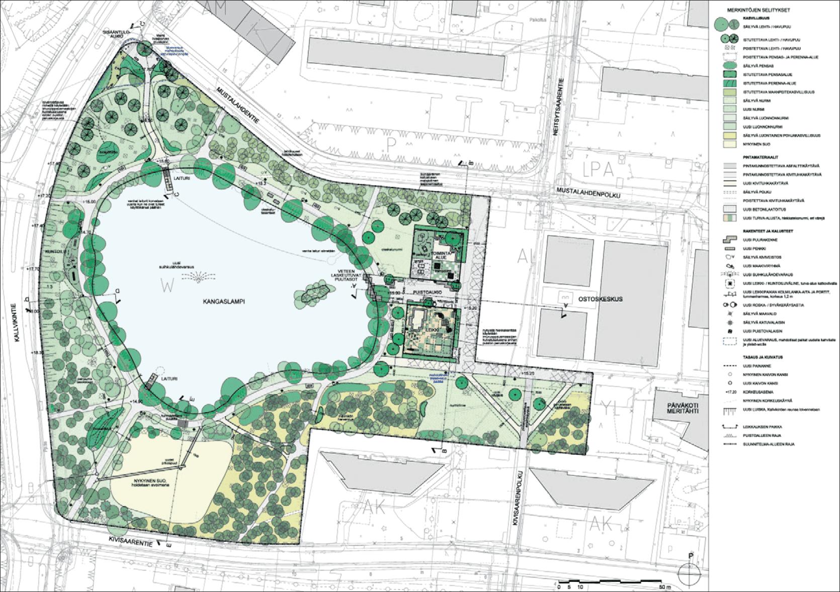 Karttakuvassa näkyy Ilveskorvenpuiston suunnitelmia. Kuva: Helsingin kaupunki
