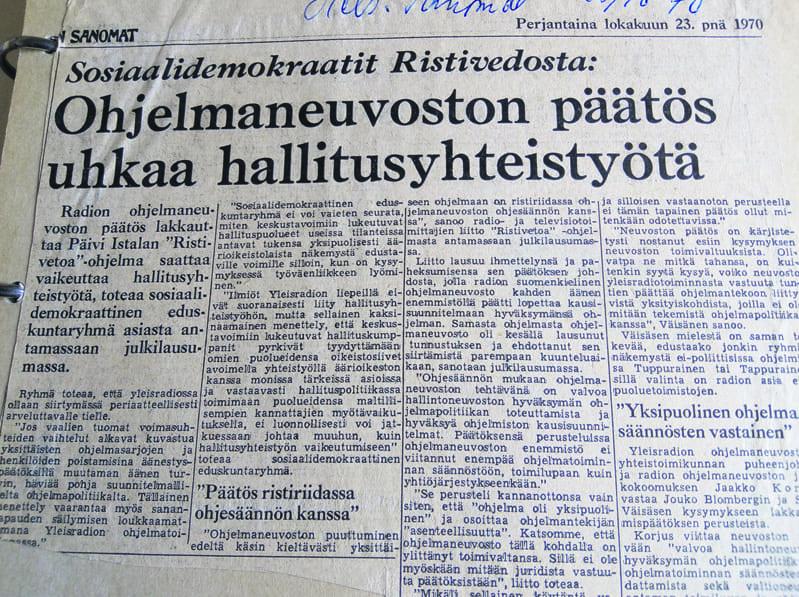 Lehdet puhuivat lokakuussa 1970 jopa hallituskriisistä. Kuvassa Helsingin Sanomat 23.10.1970.