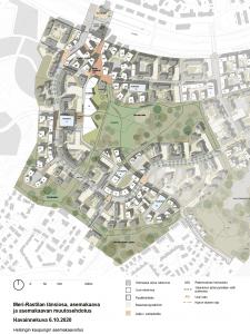 Meri-Rastilan länsiosan asemakaavan muutosehdotus näyttää tältä. Karttaan on merkitty uudet talot valkoisella, olemassa olevat rakennukset harmaalla ja uudet pysäköintitalot sinisellä. Osa nykyisistä rakennuksista on siis tarkoitus korvata uusilla taloilla.