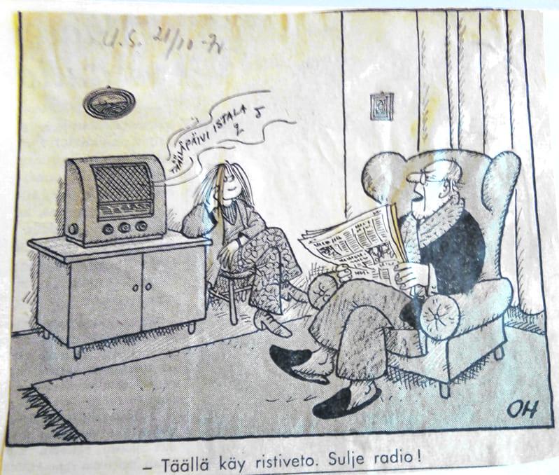 Olavi Hurmerinnan piirros Uudessa Suomessa 21.10.1970.