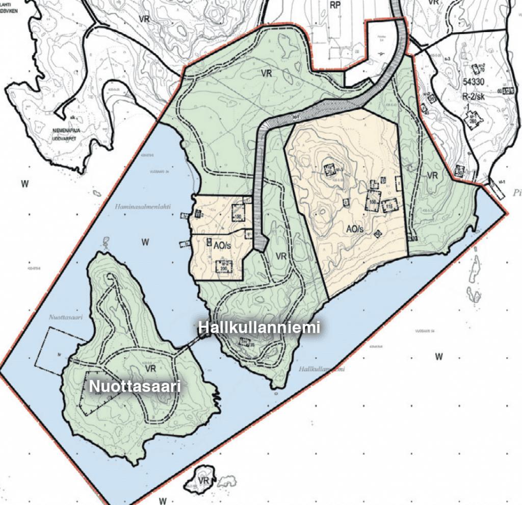 Kaava-alue on rajattu karttaan punaisella viivalla. Alue liittyy Uutelan virkistysalueeseen, jonka rantareitti saa näin hienon lisän.
