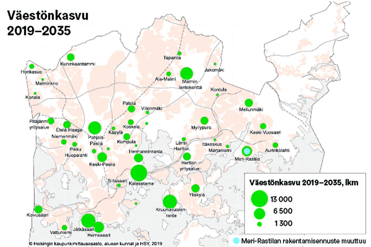 Väestönkasvu Helsingissä alueittain 2019–2035.
