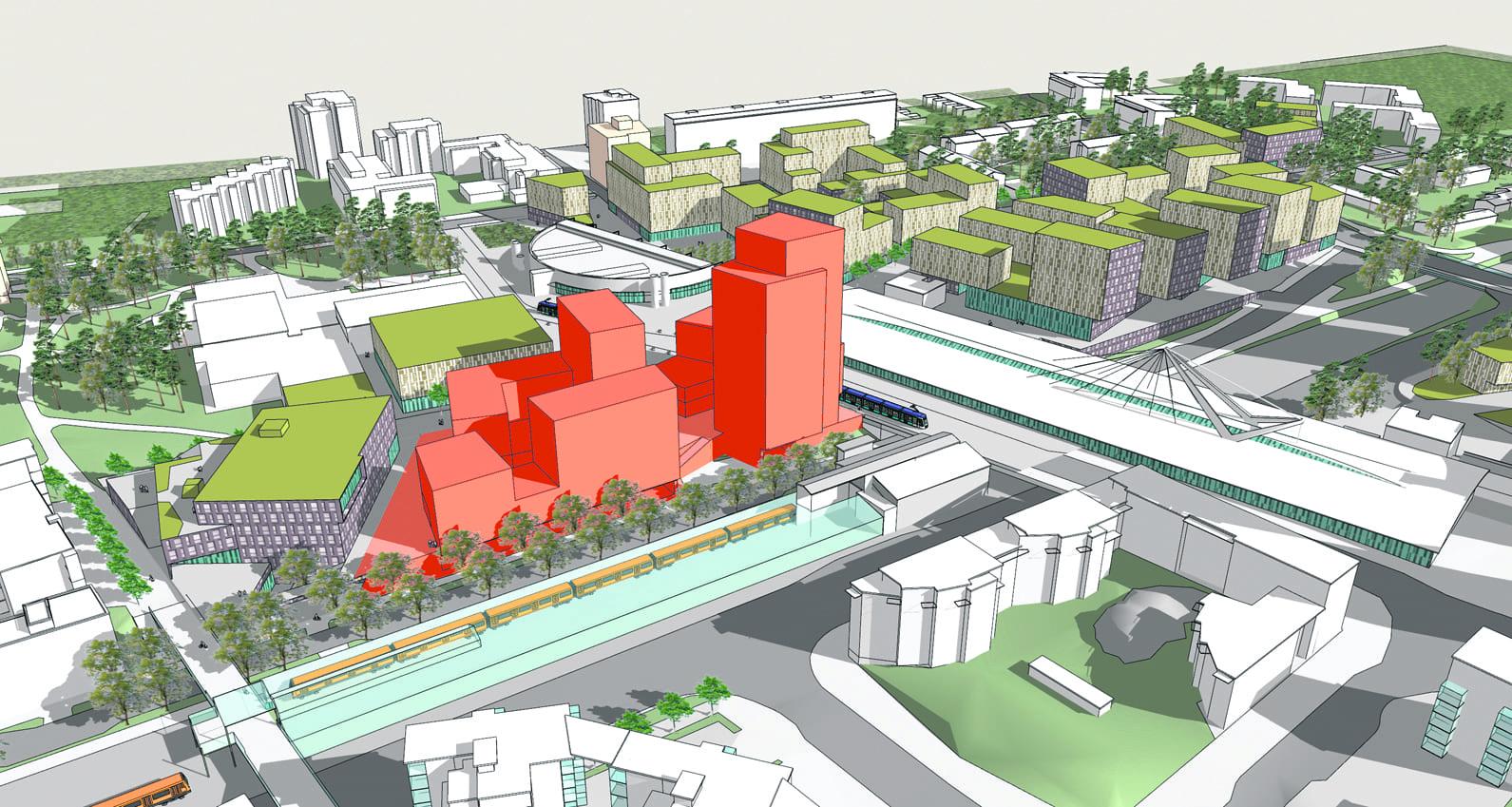 Mosaiikkikortteli tulee Vuosaaren metroaseman, Urheilutalon ja Columbuksen väliin.