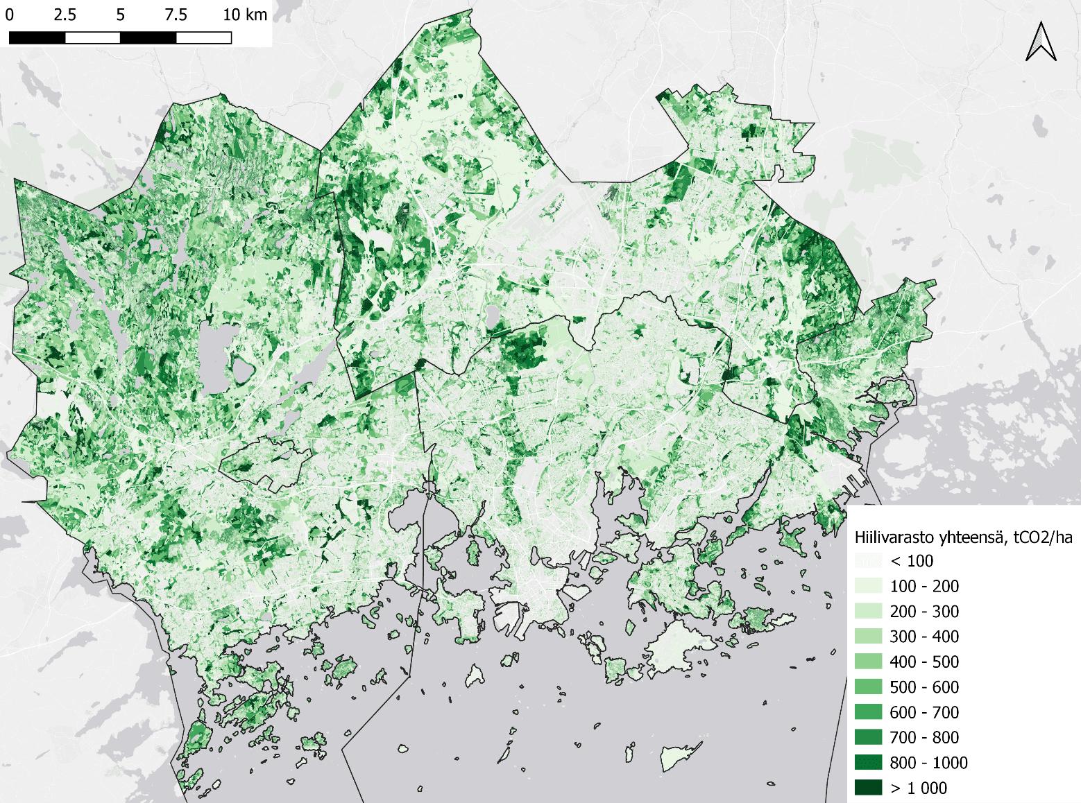 Pääkaupunkiseudun hiilivarastot. Kartta: HSY
