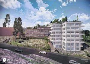 Havainnekuva uusista taloista Mustavuoresta päin katsottuna. Havainnekuva: Arkworks Arkkitehdit Oy
