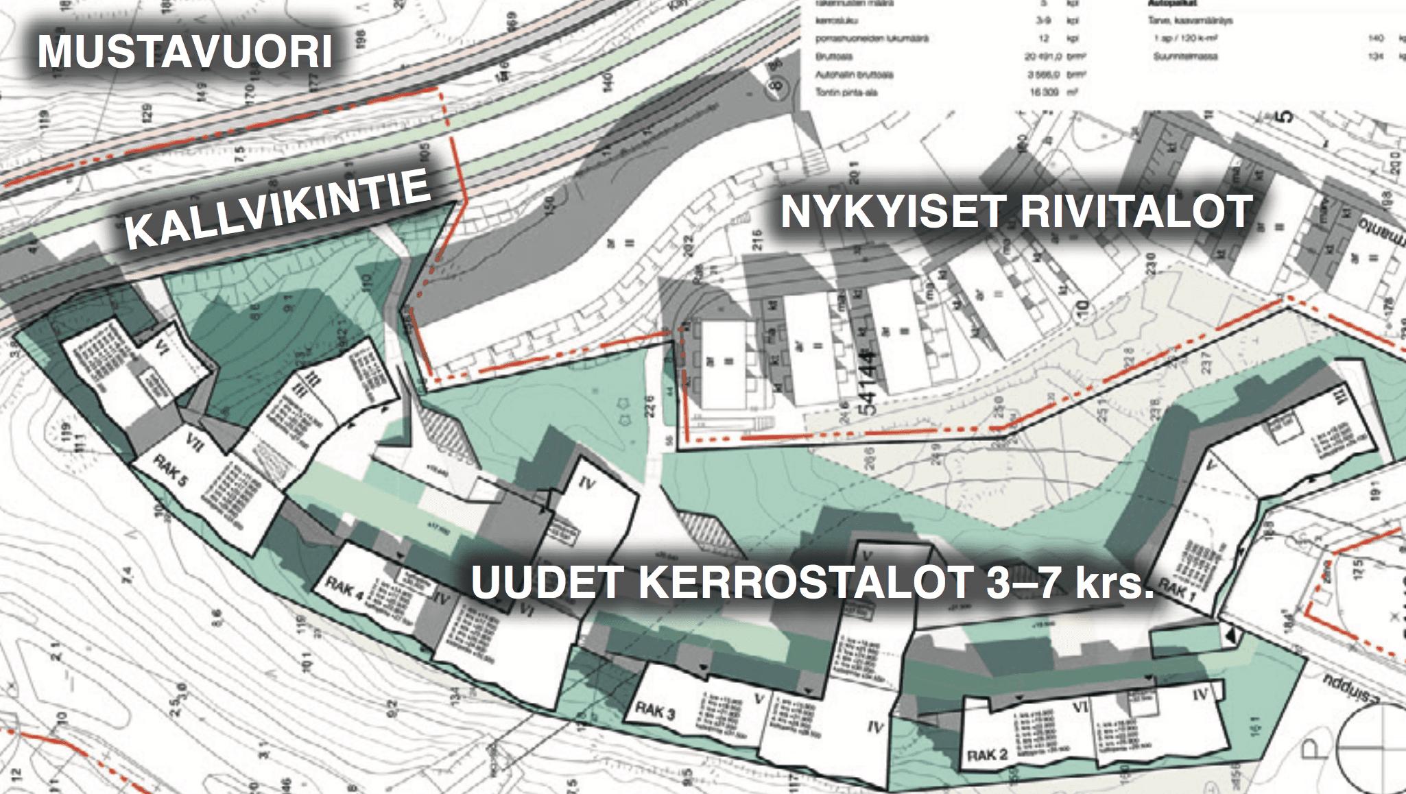 Suunnitellut uudet kerrostalot tulisivat Kurkimoision kallion reunaan. Kuva: Arkworks Arkkitehdit ja RMGardens