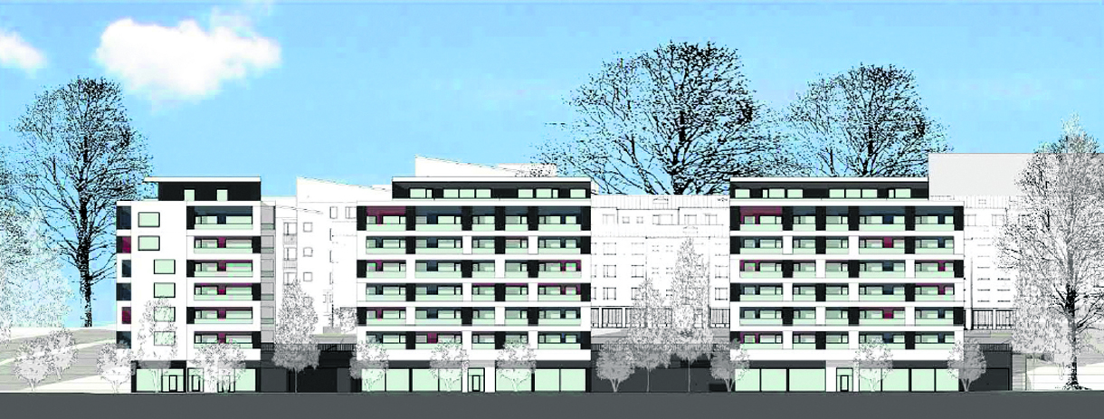 Kallvikintien varteen Merikorttikuja 6:n kohdille tulee kolme uutta 8-kerroksista asuintaloa. Havainnekuva: Avarc Arkkitehdit Oy