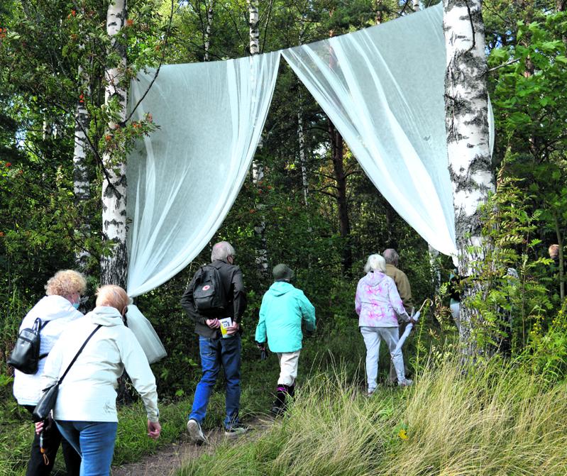 Elämykselliselle retkelle Lokkisaarenpuiston metsään asteltiin tämän portin läpi sunnuntaina 15.8.                          Kuvat: Eero Honkanen