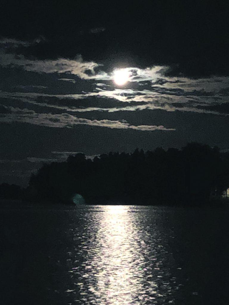 Täysikuu valaisi Vuosaaren rantoja.                 Kuva: Katja Karjalainen