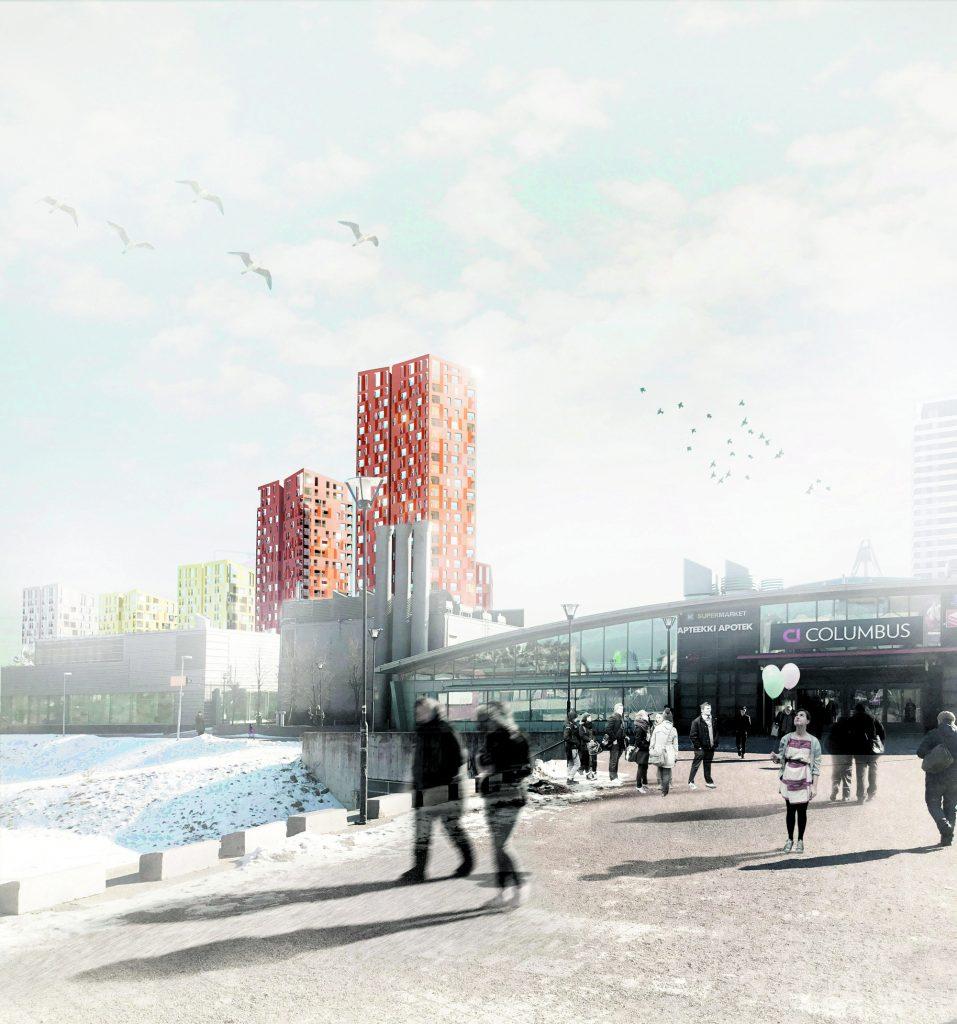 Alhaalla Atlas Mosaiikkitorilta Uutelaan päin kuvatussa havainnekuvassa.          Kuvat: B&M Architects