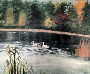 14-vuotias harrastelijataiteilija Erik Riikonen maalasi tällaisen upean maiseman Kahvila Ullaksen läheltä.